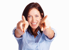 Excited pretty girl pointing her fingers Royalty Free Stock Photos