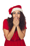 Excited pretty woman in Christmas Royalty Free Stock Images