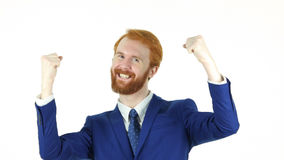 Excited Red Hair Beard Businessman Celebrating Success Royalty Free Stock Images