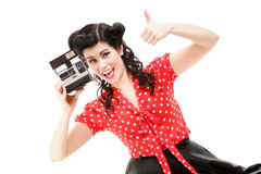 Excited retro girl with vintage camera Stock Images
