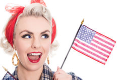 Free Excited Retro Woman Celebrates 4th July, Isolated On White Royalty Free Stock Images - 71081919