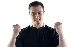 Excited rugby player yelling out Royalty Free Stock Photos