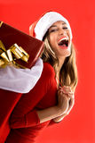 Excited Santa Girl Royalty Free Stock Images