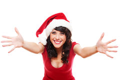 Excited santa girl Stock Photos