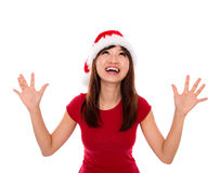 Excited Santa woman. Excited Asian Santa woman open arms looking up Stock Photography