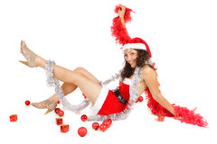 Excited santa woman and ornaments Royalty Free Stock Image