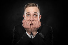 Excited or scared young man. Royalty Free Stock Photography