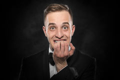 Excited or scared young man. Stock Images