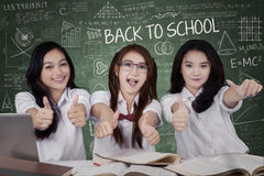Excited schoolgirls showing OK sign Stock Images