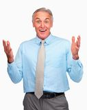 Excited senior business man on white Royalty Free Stock Image
