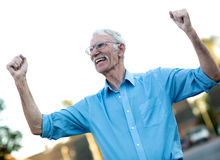 Excited senior man Royalty Free Stock Photos
