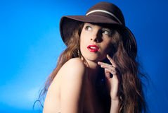 Excited Sexy Beautiful Young Woman with open mouth Royalty Free Stock Photos