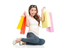 Excited shopaholic Royalty Free Stock Images