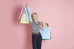 Excited Shopaholic Woman Royalty Free Stock Image