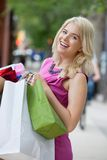 Excited Shopaholic Woman Stock Image