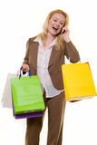 Excited shopper on the phone Stock Image
