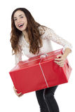 Excited shopper woman with a gift box Stock Photography