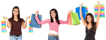 Excited shoppers Stock Images