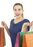Excited shopping girl Royalty Free Stock Photography