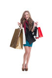 Excited shopping girl after she spent the money Royalty Free Stock Image