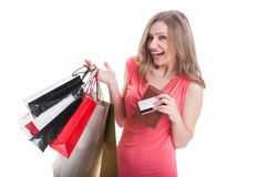 Excited shopping lady Stock Image