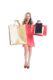 Excited shopping lady Royalty Free Stock Photography