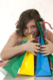 Excited Shopping Woman Royalty Free Stock Photos