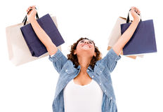 Excited shopping woman Royalty Free Stock Images