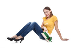 Excited Shopping Woman with gift boxes - businesswoman - Stock Image Royalty Free Stock Images