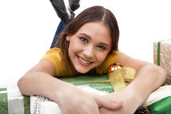 Excited Shopping Woman with gift boxes - businesswoman - Stock Image Stock Image