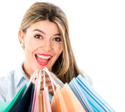 Excited shopping woman Stock Image