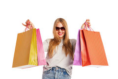 Excited shopping woman isolated on white Stock Photography