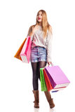 Excited shopping woman isolated on white Stock Photos