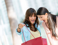 Excited shopping women Royalty Free Stock Photo