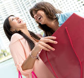Excited shopping women Stock Photography