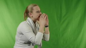 Excited shouting and listening young woman. stock video footage