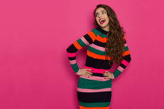Excited Shouting Woman In Colorful Striped Dress Royalty Free Stock Images
