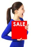 Excited sign woman Stock Photography