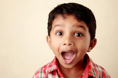 Excited small boy. Open mouth of an excited small boy Stock Photos