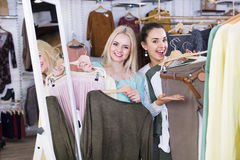 Excited smiling happy woman shopping jersey Royalty Free Stock Photos