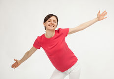 Excited smiling young woman Stock Photography