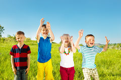 Excited soaked kids Stock Photography