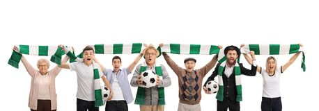 Excited soccer fans with scarfs and footballs royalty free stock images