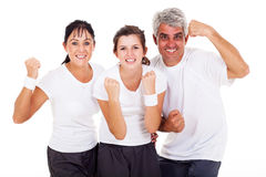 Excited sporty family. On white background Royalty Free Stock Image
