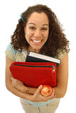 Excited student. Super excited student with a big, cheesy smile on her face Stock Photography