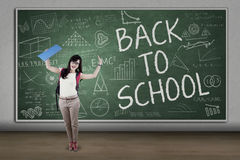 Excited student back to school Stock Image
