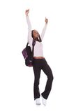 Excited Student Girl. Isolated Over White Background Stock Photo