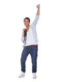 Excited Student Man. Isolated Over White Background Royalty Free Stock Image