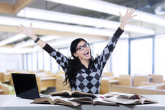 Excited student studying in class 1 Royalty Free Stock Images