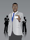 Excited stylish businessman showing white card Stock Image